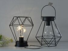 Retro Black Geometric Industrial Wire LED Light Bulb Hanging Bedside Table Lamp