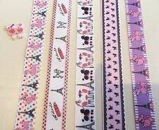 5 YARDS PRETTY GROSGRAIN RIBBONS in 5 POODLE DESIGNS 22 mm to 25 mm Wide #5~4