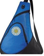 Pickleball Paddle Sling Bag - Daisy ball - Embroidered Blue Bag - FREE NAME