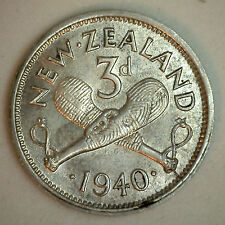 1940 Silver New Zealand Three Pence Coin AU