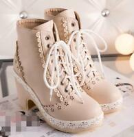 Women Chic Lolita Shoes Mary Jeans Lace Strappy  Block High Heels Ankle Boots Ns