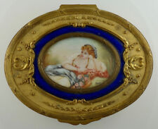 Antique French Gilt Bronze Enameled Jewelry Box