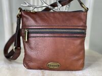 FOSSIL EXPLORER HOBO Small BROWN Leather Crossbody Swing Pack Shoulder Bag Purse