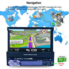 """1 Din 7"""" GPS Flip Car Stereo Radio Vehicle Player Touch Screen USB SD Adjustable"""