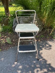 Vintage Cosco Step Stool with Flip Up Seat Plant Stand Kitchen Utility Room
