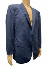 $2855 Corneliani Mens Us 46r Eu 56r Blue Check Wool Suit 2 Piece Jacket Pants