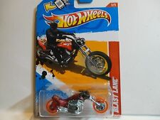 2012 Hot Wheels #203 Red Blast Lane Motorcycle w/Chrome MC3 Wheels