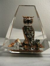 Great Horned Owl Hand Carved Wood in Lucite.  Made in Canada