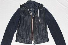 New Armani Jeans Men AJ Navy Blue Faux Leather Coat Zipper Jacket Cap Blouson S
