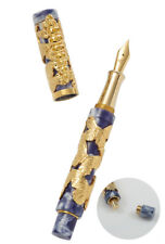 URSO LUXURY FOUNTAIN PEN  MORPHO IN SILVER VERMEIL AND  YELLOW SAPHIRES