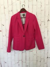 Vince Camuto Womens Blazer Size 8 Hot Pink One Button Closure Lined Cotton Blend