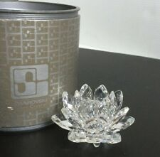 "Swarovski Silver Crystal Small 3"" Waterlily Lotus Flower Candle Holder Mib +Pads"