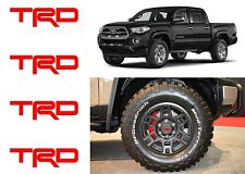 (4) Red TRD Vinyl Decals For TRD SEMA Wheel Center Caps New Free Shipping USA
