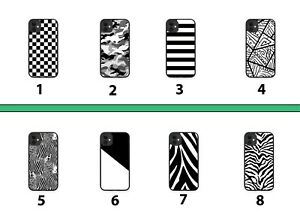 Black and White Rubber Phone Case Cover Coloured Striped Mens Boys Pattern 8139B