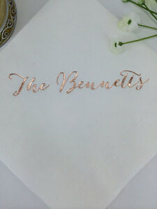 100 Personalized Napkins Rose Gold Foil Premium 3 Ply Napkins Cocktail Beverage