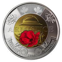 Canada 2018 $2 Toonie Armistice Poppy BU Coloured X 2 (two) From Roll.