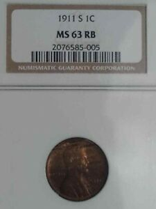 1911S NGC GRADED MS63RB LINCOLN WHEAT CENT HARD TO FIND CENT SEMI KEY DATE 63RB