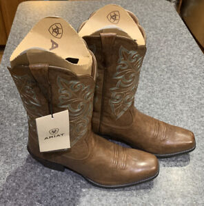 Ariat Womens Round Up Square Toe Western Boots Brown Size 10 B Med