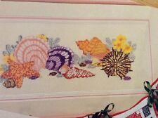 Seaside Treasures counted cross stitch magazine pattern, fabric & floss lot