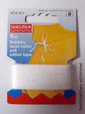 GOLD-ZACK Bobbins 5m PRYM Cotton Tape 5mm weiß Lacet Coton Soft Baumwolle 904160