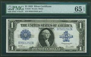 1923 $1 SILVER CERTIFICATE BANKNOTE FR-238 GEM UNCIRCULATED CERTIFIED PMG-65-EPQ