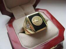 "Superb Jewelers Mens ""Krugerrand Gold Coin"" Ring"