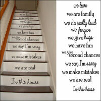 LARGE STAIRS IN THIS HOUSE RULES WE ARE FAMILY LOVE  WALL STICKER TRANSFER DECAL