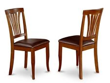 Set of 4 Avon dinette kitchen dining chairs w/ faux leather seat in cherry brown