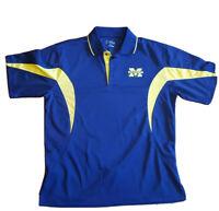 Michigan Wolverines Navy Blue golf Men's pga tour Shirt Sz Medium polyester EUC