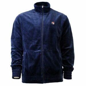 Fila Velour Vintage Track Jacket Velvet Navy Sizes M / L / 2XL New LM163TN7