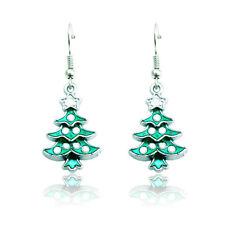 1 Pair Christmas Tree Earrings Simple Design Ear Stud Green