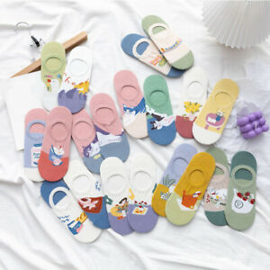 Women's Cartoon AB Story Slippers Boat Socks Invisible Silicone Non-Slip Socks