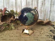 "5.5"" Gemstone Lapis Blue Ocean Rotating World Map Globe On Brass Stand NEW!"