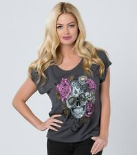 Metal Mulisha Ladies Rose Skull Tee Size S