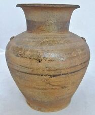 "Warring States Period ? Antique Chinese Brown Celadon Pottery Vase / Jar (7.75"")"