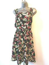 George 14 black pink floral sleeveless summer elasticated waist summer sundress