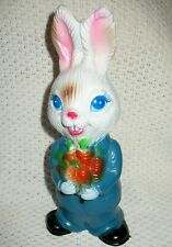 Vintage Daddy Bunny Rabbit Wearing a Blue Suit Figure Statue Carrots Easter 1974