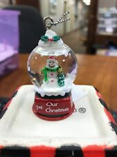 Cute GANZ Personalized Name Snowman Snow Globe Ornament Our 1st Christmas