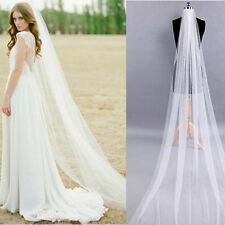 White/Ivory 1T 2M Wedding Bridal Long Veil Church Cathedral Length With Comb New