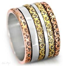 Solid 925 Sterling Silver Spinner Ring Golden Spinning Two Tone Wide Band Size 7