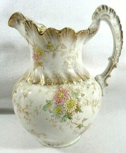 Victorian China Transferware Floral Footed Pitcher with Gold Accents