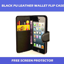 BLACK PU LEATHER WALLET CASE FOR APPLE iPHONE 5C WITH FREE SCREEN PROTECTOR