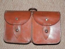 WW2 Military English Leather Ammunition Pouch With 2 Compartments Stamped 1947