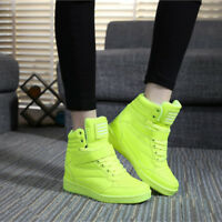 Womens High Top Sport Shoes Hidden Wedge Heels Lace Up Solid Fashion Sneakers BN