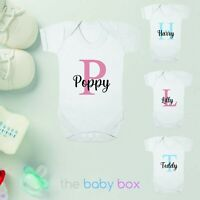 Personalised Baby Vest Boys Girls Grow Shower Gift Any Name Sleepsuit White