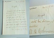 AUTOR Joseph Arthur de GOBINEAU (1816-1882): Frz. Brief BERN 1851 über ORDEN