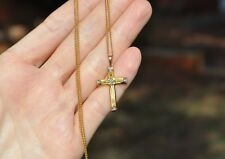 "OLD VINTAGE ESTATE 10K SOLID GOLD DIAMOND CROSS NECKLACE - 18"" CHAIN"