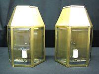 NOS Vintage Pair of Brass Colonial Style Lantern's, Beveled Glass, Georgian