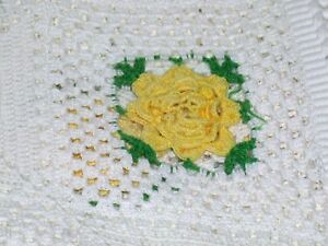 "Hand Crocheted Rose Medallion Floral Fringed Cotton Bedspread ~ 84"" W x 140"" L"