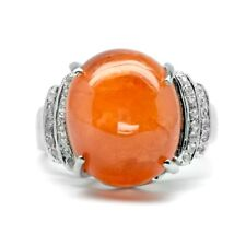 18.80ct Natural Orange Spessartite Garnet Ring With Zircon in Sterling Silver